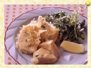 竹の子の肉詰め天ぷらとクレソンの…