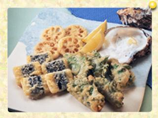 かきの大葉とチーズの磯部天ぷら