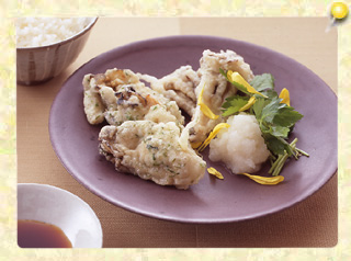 カキの磯風味天ぷら おろしポン酢…